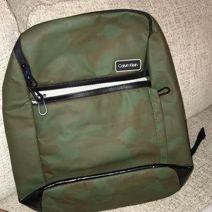 Calvin Klein green camo laptop backpack